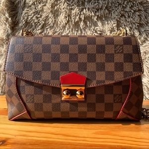 Louis Vuitton Damier Ebene Caissa Clutch Cherry